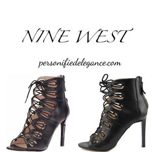 Nine West Leslie Black Leather Cage Heels 10.5M